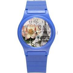 Vintage Paris Eiffel Tower Floral Plastic Sport Watch (small)