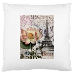 Vintage Paris Eiffel Tower Floral Large Cushion Case (two Sided)  by chicelegantboutique