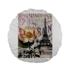 Vintage Paris Eiffel Tower Floral 15  Premium Round Cushion  by chicelegantboutique