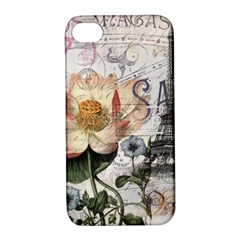 Vintage Paris Eiffel Tower Floral Apple Iphone 4/4s Hardshell Case With Stand by chicelegantboutique