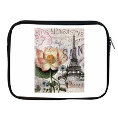 Vintage Paris Eiffel Tower Floral Apple Ipad Zippered Sleeve by chicelegantboutique