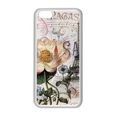 Vintage Paris Eiffel Tower Floral Apple Iphone 5c Seamless Case (white) by chicelegantboutique