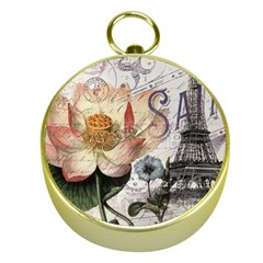 Vintage Paris Eiffel Tower Floral Gold Compass by chicelegantboutique