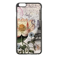 Vintage Paris Eiffel Tower Floral Apple Iphone 6 Plus Black Enamel Case by chicelegantboutique
