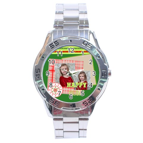 Xmas By Xmas   Stainless Steel Analogue Watch   E41fbg5qbxo6   Www Artscow Com Front