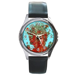 Flower Horizon Round Leather Watch (silver Rim) by icarusismartdesigns