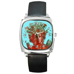 Flower Horizon Square Leather Watch by icarusismartdesigns