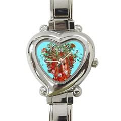 Flower Horizon Heart Italian Charm Watch  by icarusismartdesigns