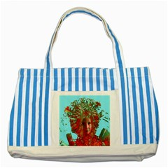 Flower Horizon Blue Striped Tote Bag by icarusismartdesigns