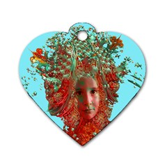 Flower Horizon Dog Tag Heart (one Sided)  by icarusismartdesigns
