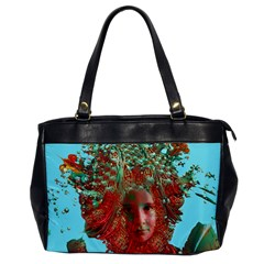 Flower Horizon Oversize Office Handbag (one Side) by icarusismartdesigns