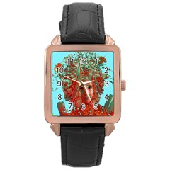 Flower Horizon Rose Gold Leather Watch  by icarusismartdesigns