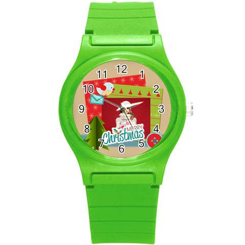 Xmas By Xmas   Round Plastic Sport Watch (s)   Af8bubsi2r35   Www Artscow Com Front