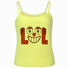 Laughing Out Loud Illustration002 Yellow Spaghetti Tank by dflcprints