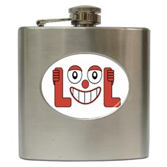 Laughing Out Loud Illustration002 Hip Flask by dflcprints