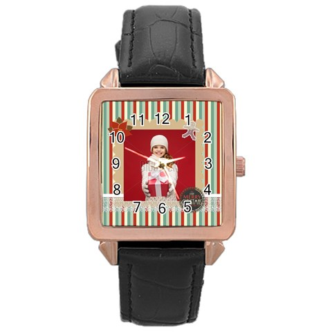 Xmas By Xmas   Rose Gold Leather Watch    0aq0l45phfjv   Www Artscow Com Front