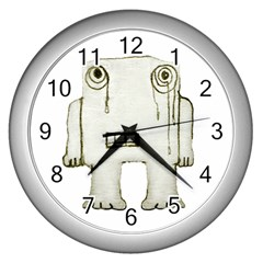 Sad Monster Baby Wall Clock (silver) by dflcprints