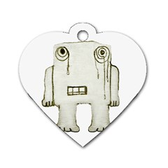Sad Monster Baby Dog Tag Heart (two Sided) by dflcprints