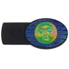 Sun Face 2gb Usb Flash Drive (oval) by sirhowardlee