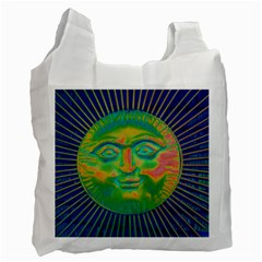 Sun Face White Reusable Bag (one Side) by sirhowardlee
