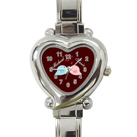 Love Birds Heart Watch By Kim Blair   Heart Italian Charm Watch   Olec4akg2wlg   Www Artscow Com Front