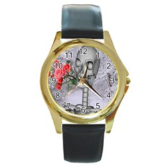 Looking Forward To Spring Round Leather Watch (gold Rim)  by icarusismartdesigns