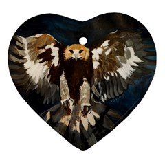 Golden Eagle Heart Ornament (two Sides) by JUNEIPER07