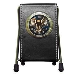 Golden Eagle Stationery Holder Clock by JUNEIPER07