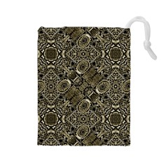 Steam Punk Pattern Print Drawstring Pouch (large) by dflcprints