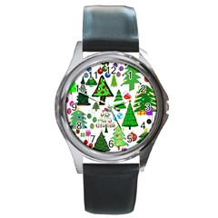 Oh Christmas Tree Round Leather Watch (silver Rim) by StuffOrSomething