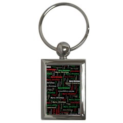 Merry Christmas Typography Art Key Chain (rectangle) by StuffOrSomething