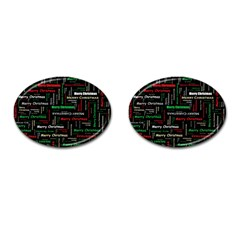 Merry Christmas Typography Art Cufflinks (oval) by StuffOrSomething