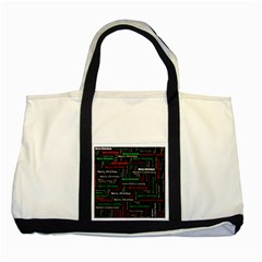 Merry Christmas Typography Art Two Toned Tote Bag by StuffOrSomething