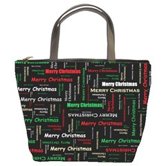 Merry Christmas Typography Art Bucket Handbag by StuffOrSomething