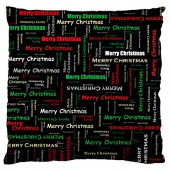 Merry Christmas Typography Art Large Cushion Case (single Sided)  by StuffOrSomething
