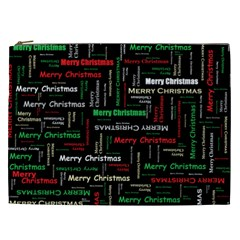 Merry Christmas Typography Art Cosmetic Bag (xxl) by StuffOrSomething