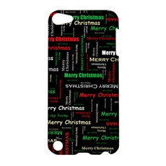Merry Christmas Typography Art Apple Ipod Touch 5 Hardshell Case by StuffOrSomething