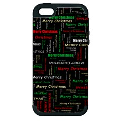 Merry Christmas Typography Art Apple Iphone 5 Hardshell Case (pc+silicone) by StuffOrSomething