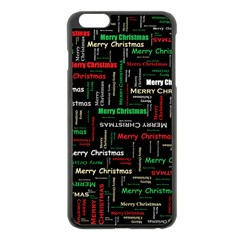 Merry Christmas Typography Art Apple Iphone 6 Plus Black Enamel Case by StuffOrSomething