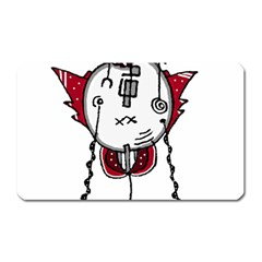 Alien Robot Hand Draw Illustration Magnet (rectangular) by dflcprints