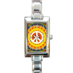 Psychedelic Peace Dove Mandala Rectangular Italian Charm Watch by StuffOrSomething