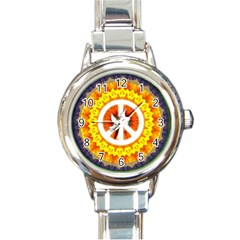 Psychedelic Peace Dove Mandala Round Italian Charm Watch by StuffOrSomething