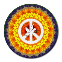 Psychedelic Peace Dove Mandala 8  Mouse Pad (round) by StuffOrSomething