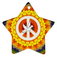 Psychedelic Peace Dove Mandala Star Ornament by StuffOrSomething