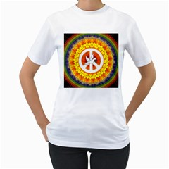 Psychedelic Peace Dove Mandala Women s Two Sided T Shirt (white) by StuffOrSomething