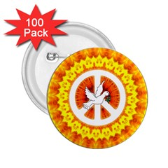 Psychedelic Peace Dove Mandala 2 25  Button (100 Pack) by StuffOrSomething