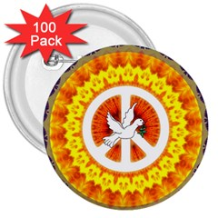 Psychedelic Peace Dove Mandala 3  Button (100 Pack) by StuffOrSomething