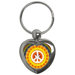 Psychedelic Peace Dove Mandala Key Chain (heart) by StuffOrSomething