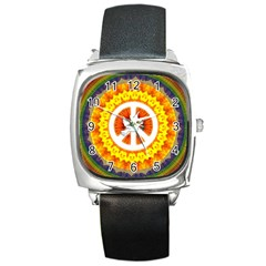 Psychedelic Peace Dove Mandala Square Leather Watch by StuffOrSomething