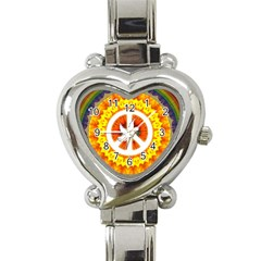 Psychedelic Peace Dove Mandala Heart Italian Charm Watch  by StuffOrSomething
